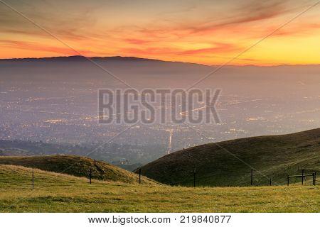 Silicon Valley Golden Hours. Sierra Vista Open Space Preserve, San Jose, Santa Clara County, California, USA.