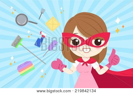 cartoon super housewife on the blue background