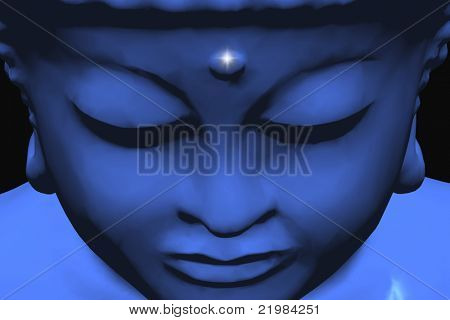 blue buddha portrait, very suitable as background