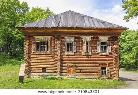 Nizhny Novgorod, Russia - June 10, 2017: Pavlova's House in the Museum of Wooden Architecture Schelokovsky Farm in a summer sunny day. 2