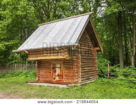 Nizhny Novgorod, Russia - June 10, 2017: Grosheva's barn in the Museum of Wooden Architecture Shchelokovsky Farm. (1)