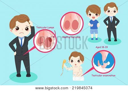 man with testicular lumps problem on the blue background