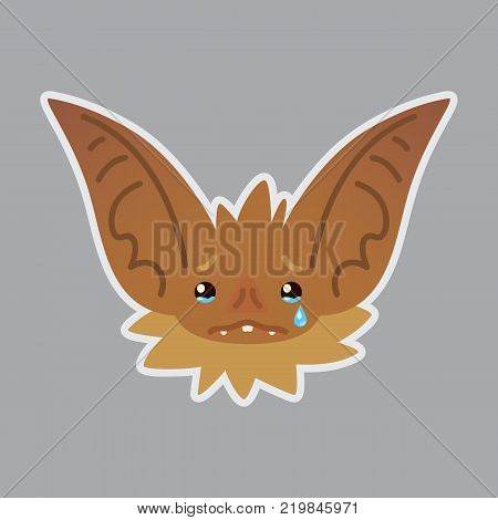 Bat emotional head. Vector illustration of bat-eared brown creature shows sad emotion. Crying emoji. Smiley icon. Halloween decoration, print, chat, communication. Isolated object with sublayer. Tears.