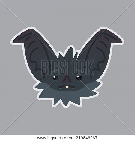 Bat sticker. Emoji. Illustration of cute Halloween bat vampire shows sad emotion. Weary. Isolated emoticon icon with sublayer. Bat-eared grey creature snout. Print design. Badge. Sadness. Vector