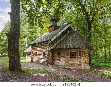 Nizhny Novgorod, Russia - June 10, 2017: The Intercession Church (or Pokrovskaya ) XVII in the Museum of Wooden Architecture Shchelokovsky Khutor.