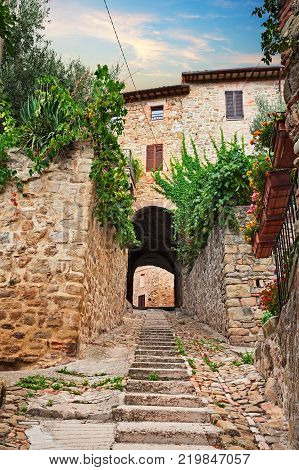 Gualdo Cattaneo, Perugia, Umbria, Italy: old alley with stairway and underpass to the entrance of the old town with plants and flowers