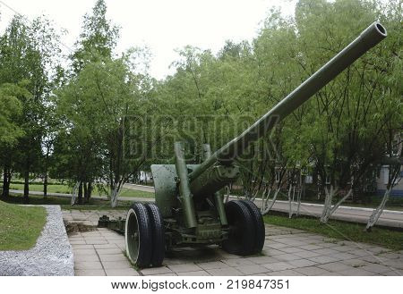 Old green russian artillery field cannon gun