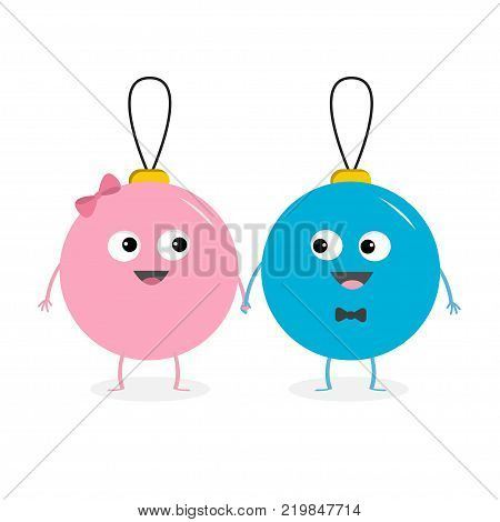 Christmas ball toy icon set. Love couple boy girl looking on each other holding hands. Bow tie. Funny smiling face head. Cute cartoon character. Red and blue. White background. Flat design. Vector