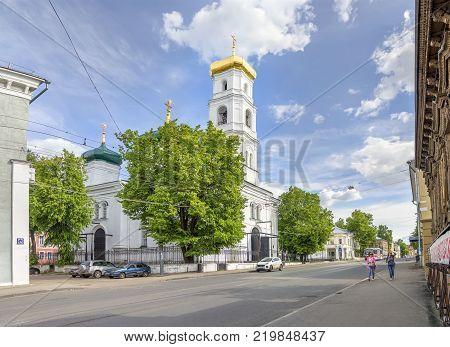 Nizhny Novgorod, Russia - June 10, 2017: Ilinskaya street and the Ascension ( Voznesenskaya ) church.