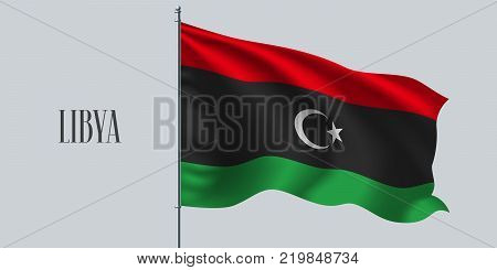 Libya waving flag on flagpole vector illustration. Three stripes element of Libyan wavy realistic flag as a symbol of country