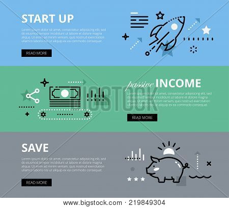 Flat line web banners of business and finance. Line start-up rocket, money conveyer and piggy bank for websites and marketing materials with call to action buttons, ready to use