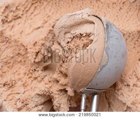image of a chocolate ice cream scoop