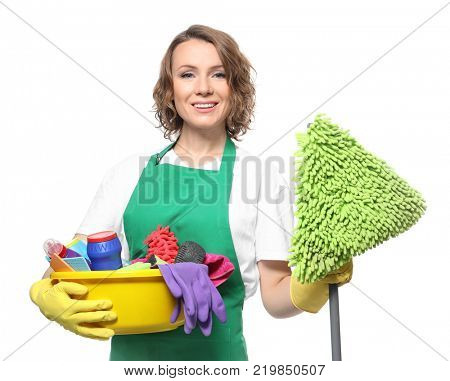 Young professional with cleaning supplies and mop, isolated on white