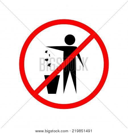 Do not litter sign. Silhouette person on white background. No throwing garbage mark in red circle. Take care of clean nature symbol. Colorful template for badge banner label. Vector illustration.