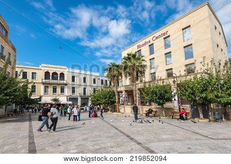 Heraklion Greece - November 2 2017: People near shopping centre deparment store Hondos Center in Heraklion Crete island Greece.