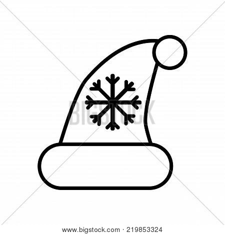 Black Christmass hat with pompom and snowflake isolated on white background. Christmass accessory outline flat icon. Santa Clous hat vector illustration.