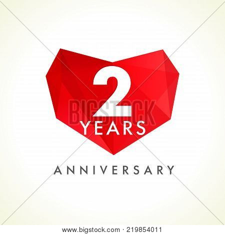 2 years anniversary heart logo. Template emblem of 2th years celebration in facet heart shape. Vector illustration