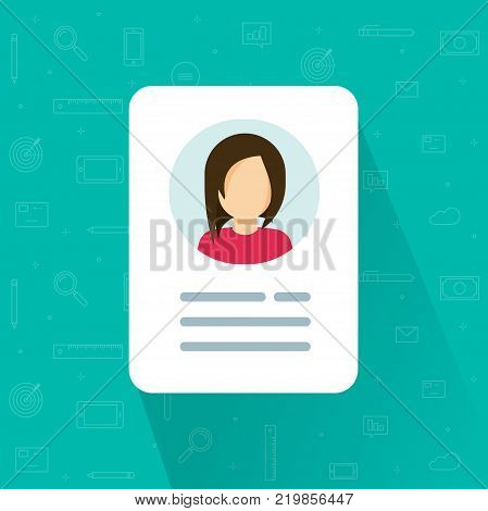 Personal info icon vector illustration isolated, flat cartoon style of user or profile card details symbol, my account pictogram idea, identity document with person photo and text
