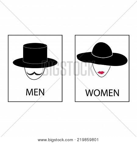 Silhouette head men and women on white background. WC icon. Icon public toilette and bathroom for hygiene. Sign restroom women and men. Template for postersign. Flat vector image Vector illustration.