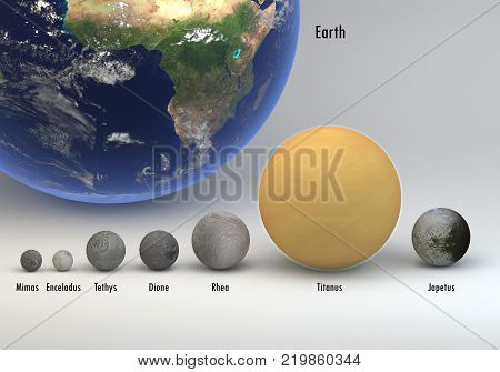 This image represents the comparison between the moons of Saturn in size and Earth with captions. This is a precise comparison and scientific design in 3d rendering.