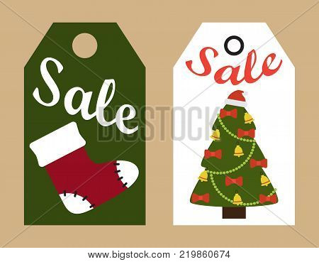 Sale promo tags ready to use labels decorated Christmas trees and red Santa sock promotional advert stickers vector illustrations promo badges