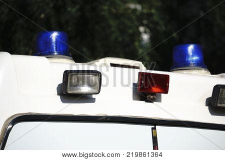 Police strobe Studio photography. Emergency light blue rotating beacon. Luminous siren for cars.