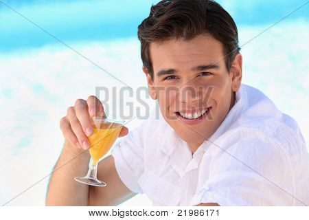young man enjoying an orange juice poster
