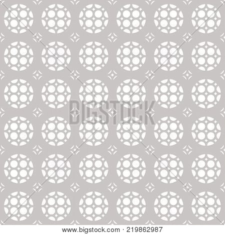 Vector subtle seamless geometric ornament pattern with rounded grid, lattice, perforated surface. White and gray ornamental texture. Abstract subtle silver background pattern, repeat tiles. Delicate subtle design for decor. Stock vector