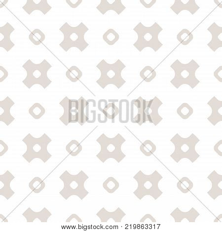 Vector minimalist seamless pattern with simple geometric shapes, hollow circles and crosses. Subtle abstract beige and white background. Funky repeat texture. Design for decoration, textile, wallpaper. Cross background. Cross texture.
