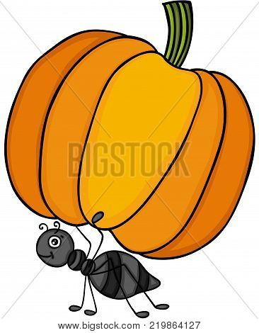 Scalable vectorial representing a ant carrying a pumpkin, illustration isolated on white background.