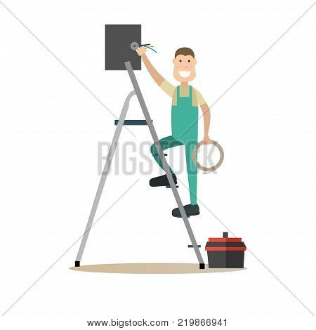 Vector illustration of worker male installing the network. Internet wire connection concept. Internet people flat style design element, icon isolated on white background.