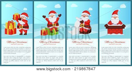 Merry Xmas and Happy New Year poster Santa Claus and presents, chimney pipe, wish list scroll, daily activities of winter character banners with text