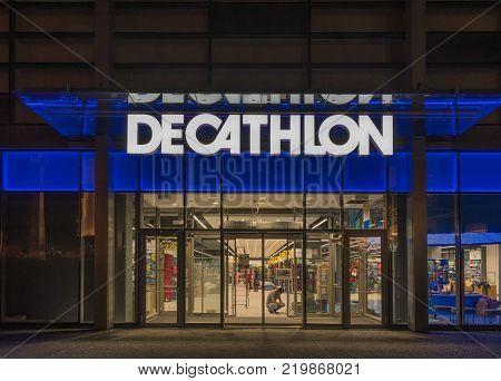 6 on November, 2017, Editorial photo of Decathlon in the night, Bratislava, Slovakia