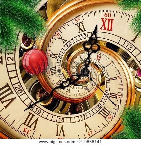 Abstract New Year clock with red ornament ball on green Christmas tree. New Year 2018 postcard. Antique old clock abstract fractal spiral. Watch clock abstract fractal pattern background poster post card. Few minutes to twelve Christmas time.