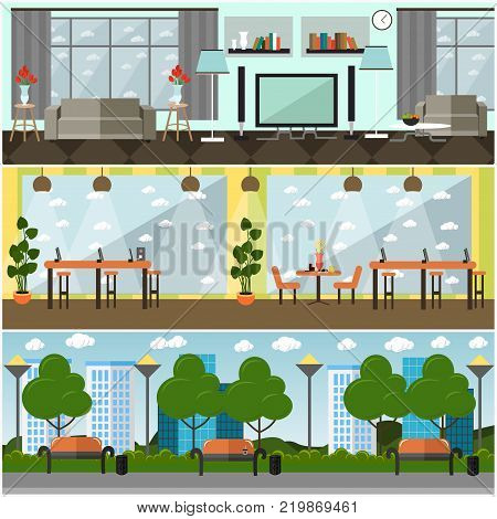 Vector set of internet posters, banners. Internet cafe, park and home interior. Places where people can use different types of internet connections. Flat style design elements.
