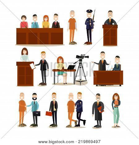 Vector illustration of professional judge, lawyer, jury, police officer, witness and defendant. Law court people symbols, icons isolated on white background. Flat style design.
