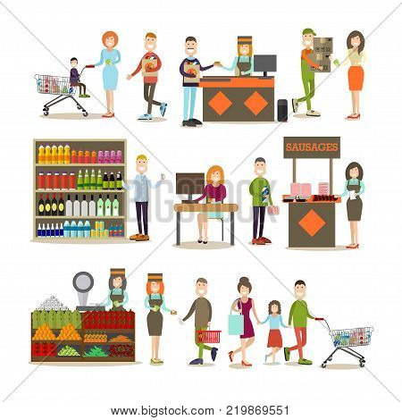 Vector illustration of people doing shopping in grocery store or in marketplace. People making purchases symbols, icons isolated on white background. Flat style design.