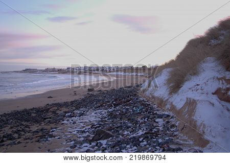 St Combs Beach in the Winter with snow