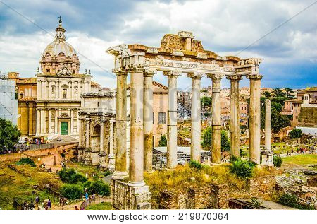 Roman Forum, Rome's historic center, Italy. Forum of Caesar in Rome, Italy. Architecture and landmark of Rome. Antique Rome
