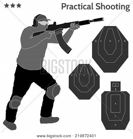 Practical shooting man aiming the rifle at the firing range and three kinds of rifle targets. Will be perfect for logo, banner, poster, postcard.