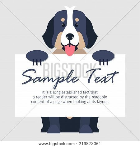 Cute Bernese Mountain Dog with open maw holds signboard with text isolated on grey background. Smart and loyal dog breed vector illustration. Cartoon fluffy domestic animal with calm character.