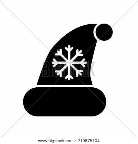 Black Christmass hat with pompom and snowflake isolated on white background. Christmass accessory solid flat icon. Santa Clous hat vector illustration.