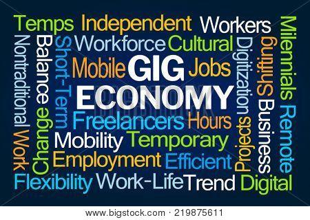 Gig Economy Word Cloud on Blue Background