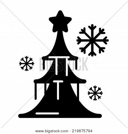 Dressed Christmass tree linear icon. Black Christmass tree on white background. Vector eps10