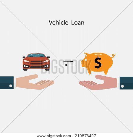 Car iconPiggy sign and Human hand symbol.Vehicle loan promotion concept.Transport concept.Smart life & Work life balance concept.Vector illustration.