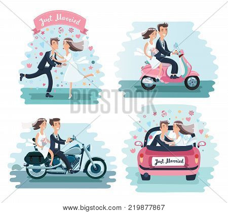 Vector cartoon funny illustration of wedding couple: Groom and bride, dancing, kissing, in a car, drive on scooter and motorcycle