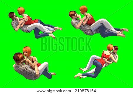 3D rendering of a collection of couple poses in love in cartoon style relaxed positions on chroma key background