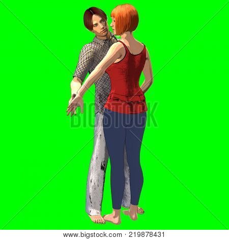 3d rendering in comic style on chroma key background of standing couple engaged