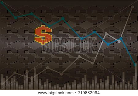 Dollar symbol with descending and ascending line graph with volume on black and gray background