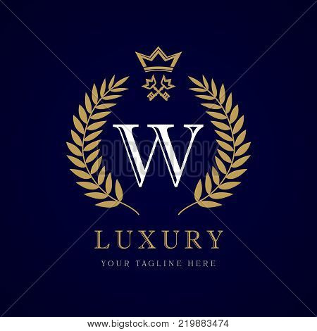 Luxury calligraphic letter W crown and key monogram logo. Laurel elegant beautiful round identity with crown and key. Vector letter emblem W for Royalty, Restaurant, Boutique, Hotel, Heraldic, Jewelry